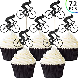 72 Pieces Bike Cupcake Topper Bicycle Sport Cake Topper Glitter Bicycle Cake Decoration for Bicycle Themed Birthday Party Supply