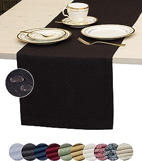 Black Table Runner 60 inch, Waterproof Dresser Scarf, Outdoor Coffee Table Runner, Elegant Dining Table Runners for Fiest...