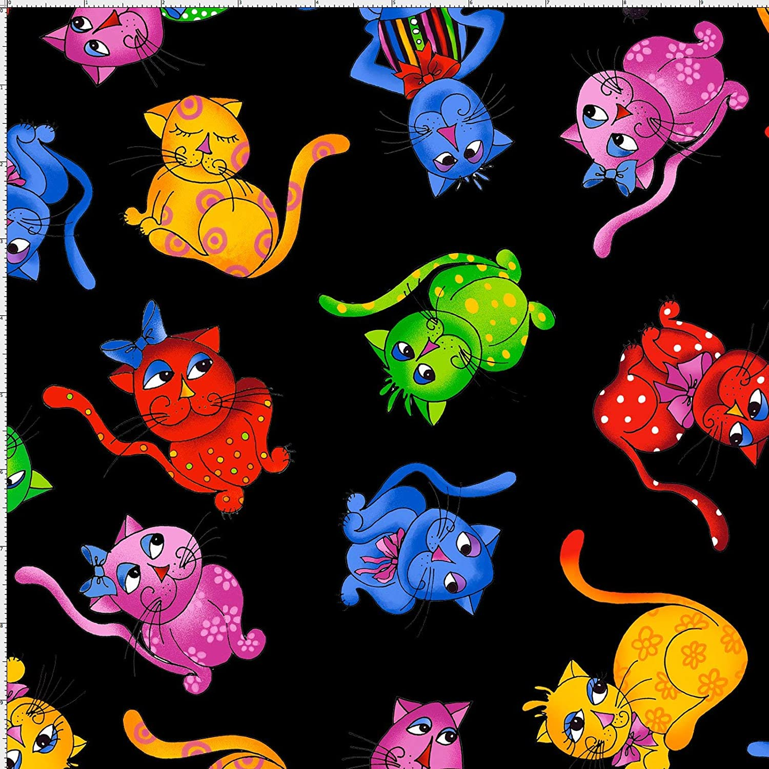 Loralie Designs - Tossed Cool Cats Black Fabric by The Yard for Sewing - Loralie's Cat Fabric Collection - Black cat Fabric - 100% Cotton/Washable