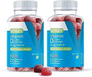 Sponsored Ad - [60 Count 2 Pack] Vitamin D3 Gummies Ultra Strength 125mcg 5000 IU - Bone Health, Immune Health, Joint Musc...