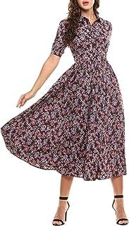 AL'OFA Women's Vintage Style Short Sleeve Floral Print Long Maxi Dress