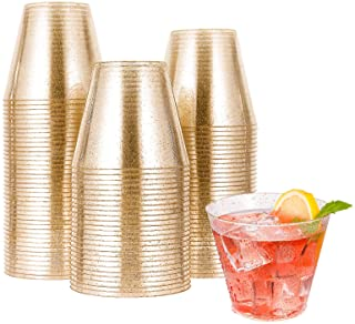9OZ Gold Plastic Cups, Disposable Gold Glitter Plastic Cups, Clear Plastic Cups Tumblers, Wedding Cups Party Cups