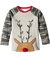 Camo Christmas Reindeer Long Sleeve Raglan T-Shirt (Infant/Toddler)