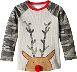 Camo Christmas Reindeer Long Sleeve Raglan T-Shirt (Infant/Toddler)