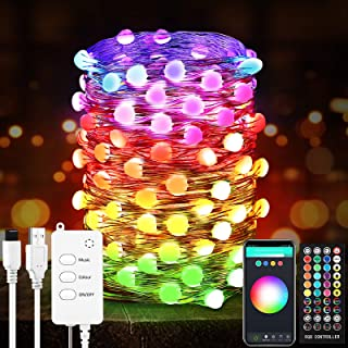 YUNLIGHTS Smart Fairy String Lights - 32.8FT 100LED Fairy Lights with Music Mode Remote App Control RGB Color Changing Tim...