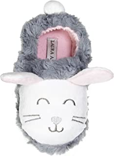 Toddler Girls Bunny Faux Fur A-Line Clog Slippers Grey (See Sizes)