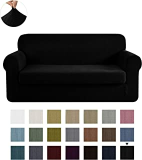 CHUN YI Stretch Sofa Slipcover 2-Piece Couch Cover Furniture Protector, Settee Coat Soft with Elastic Bottom, Checks Spandex Jacquard Fabric, Large, Black