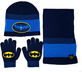 Batman 3PC Hat, Glove, Scarf Set, Blue, One Size Fits Most