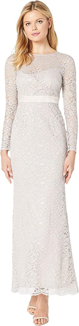 Lace Long Sleeve Evening Gown