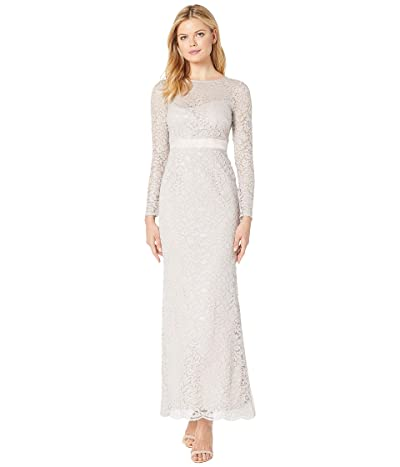 Adrianna Papell Lace Long Sleeve Evening Gown (Icy Lilac) Women