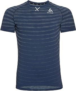 Odlo Men's Blackcomb Pro Crew Neck T-Shirt, Estate Blue-Space dye, M