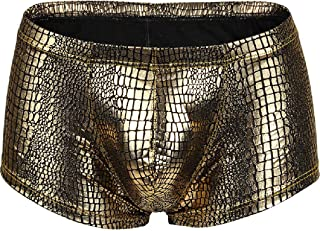 neveraway Mens New Liquid Polyester Slim Snake Print Sexy Low Waist Boxer Brief