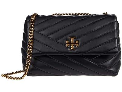 Tory Burch Kira Chevron Small Convertible Shoulder Bag (Black) Handbags