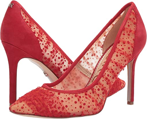 Passion Red Velvet Dot Tulle/Suede Leather