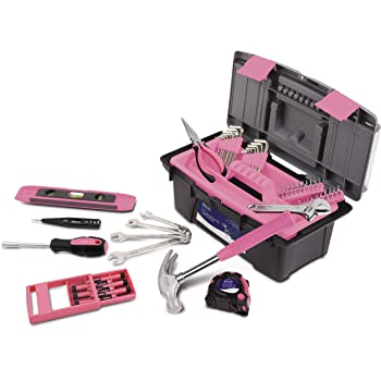 Apollo Tools DT9773P 53 Piece Household Tool Set with Wrenches, Precision Screwdriver Set and Most Reached for Hand Tools in Handy Tool Box Pink Ribbon