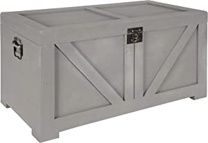 Kate and Laurel Cates Classic Farmhouse Small Wooden Storage Chest Trunk, Gray, Modern Farmhouse Decorative Storage Chest