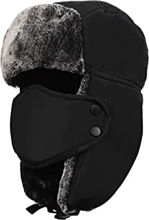 SPORT BEATS Unisex Winter Trapper Trooper Hat Hunting Hat for Men and Women Ushanka with Ear Flap Chin Strap and Windproof Mask