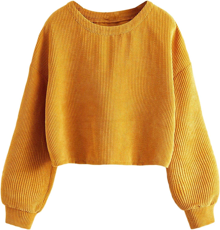 Floerns Women's Lantern Sleeve Corduroy Pullover Sweatshirt Tops