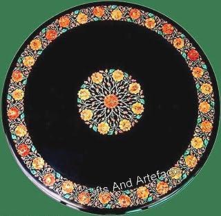 Gifts And Artefacts Table de salle à manger en marbre avec pelouse noire de 48 cm