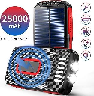 Cargador Solar Batería Exteriores IP65 Inteligente-Impermeable Power Bank Con 2 Linternas-Brillantes(6W) 3 Salidas Y 3 Entrada 4 Modo Cargador Móvil Para iPhone Android ipad Smartphones Dispositivos