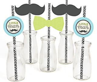 Dashing Little Man Mustache Paper Straw Decor - Baby Shower or Birthday Party Striped Decorative Straws - Set of 24
