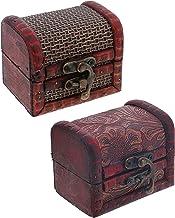 SandT Collection 3 Inch Wooden Chest Keepsake Treasure Box for Trinkets - Set of 2 (Basket & Nature)