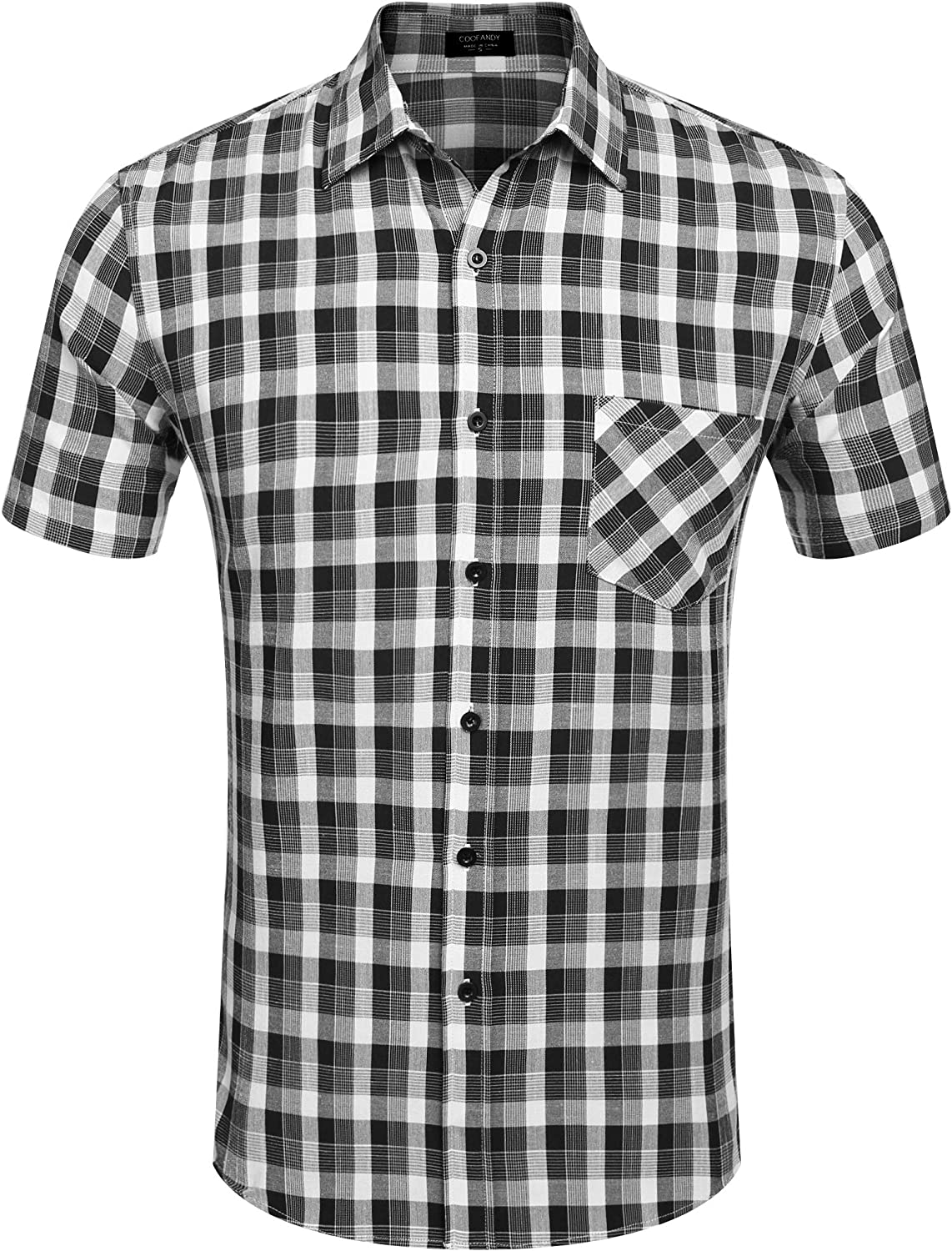 COOFANDY Men's Plaid Short Sleeve Shirts Casual Button-Down Cotton Classic Dress Checked Shirts with Pocket