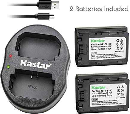 Kastar Battery 2 Pack and Dual Charger for Sony NP-FZ100 BC-QZ1 NPA-MQZ1K and Sony Alpha A9 ILCE-9, Alpha 9R, Alpha A9S, Alpha A7 III, Alpha ILCE-7M3, Alpha ILCE-7M3K, Alpha A7R III, Alpha ILCE-7RM3