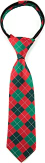 Littlest Prince Couture Scarlet & Pine Argyle Youth Zipper Tie 5-8 Years