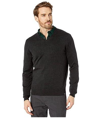 Perry Ellis End-On-End Feeder Stripe Long Sleeve Sweater (Black) Men