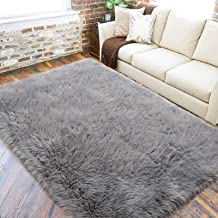 VARWANEO Ultra Soft Fluffy Rugs Faux Fur Sheepskin Area Rug for Bedroom Bedside Living Room Carpet Nursery Washable Floor ...