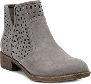 Women's Calico Ankle Bootie Boot with Perferated Chop Out Design