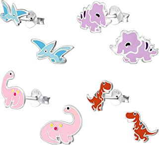 ICYROSE 925 Sterling Silver Set of 4 Pairs Assorted Dinosaur and Friends Stud Earrings for Girls (Nickel Free)