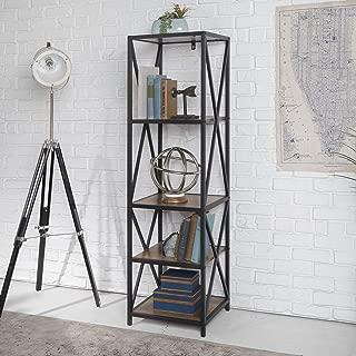 WE Furniture Bookshelf, Rustic Oak/Black Metal