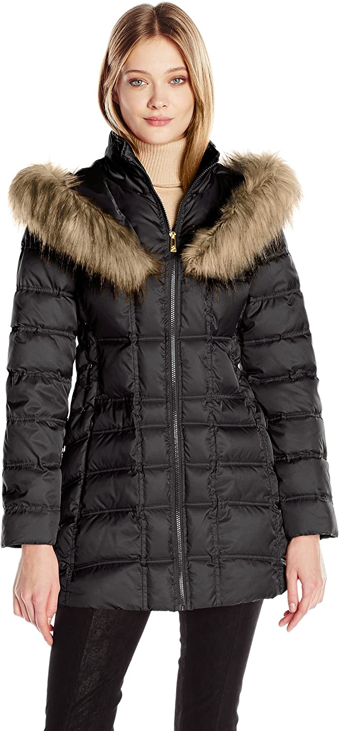 Betsey Johnson Women's 3 4 Puffer with Corset Side and Faux Fur Heart Hood