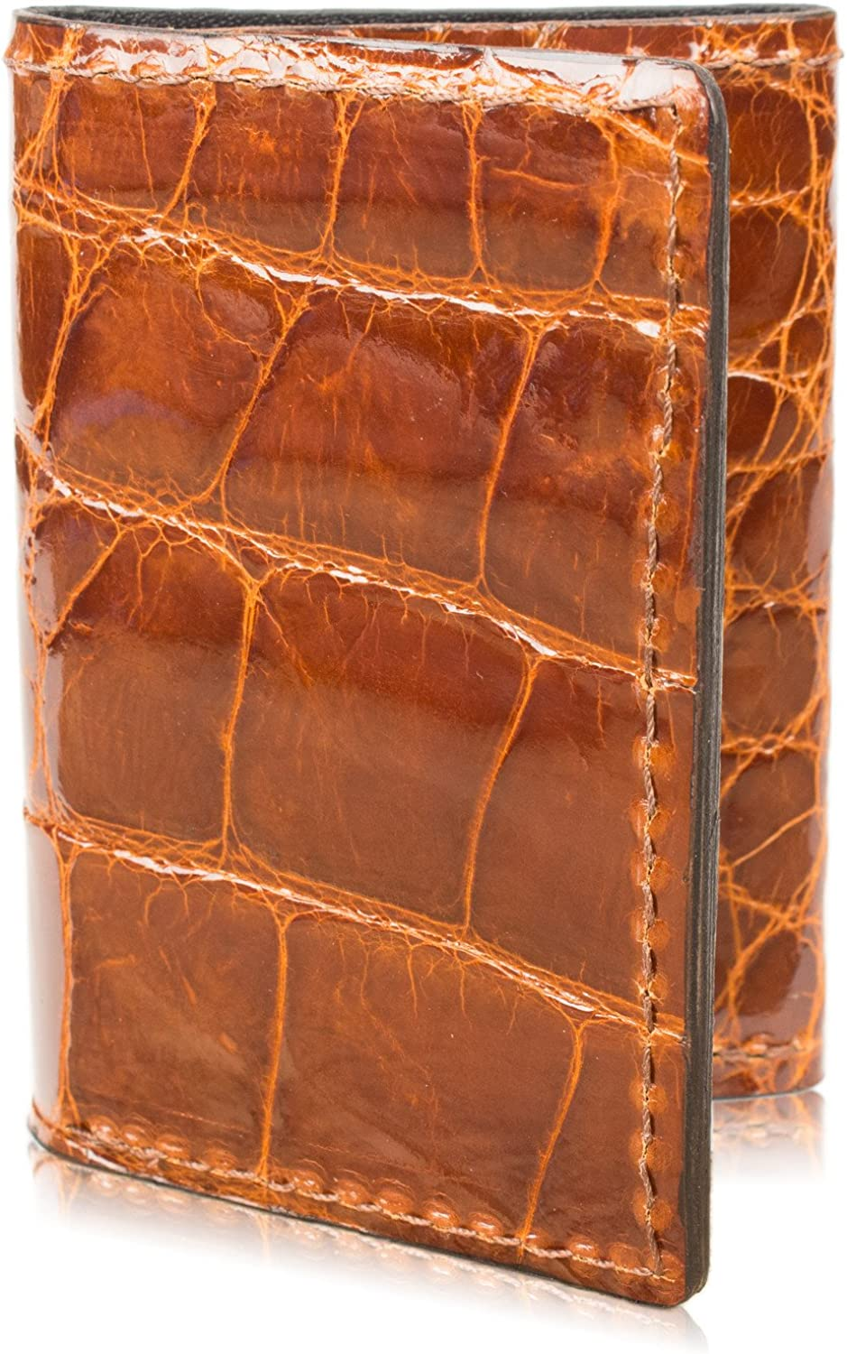 Genuine Alligator Skin Trifold Leather Wallet Handmade with 9 Card Slots