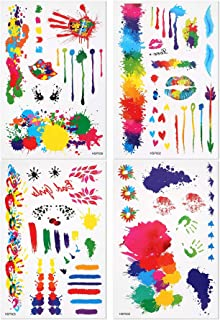 BMC Beautifully Bright Watercolor Designed Temporary Tattoos - 4 Sheets, Set 2