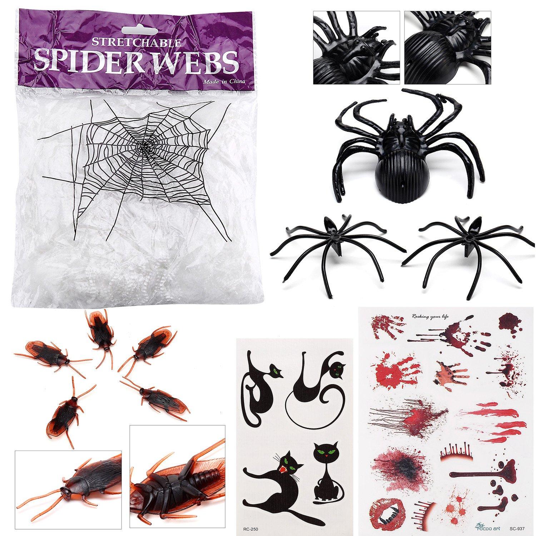 مجموعة تزيين الهالوين شبكة عنكبوت بيضاء حقيبة واحدة عنكبوت كبير 1 عناكب صغيرة 150 الصراصير 50 مجموعة أوشم الدمية 1 ومجموعة وشم كيتي 1 Amazon Ae