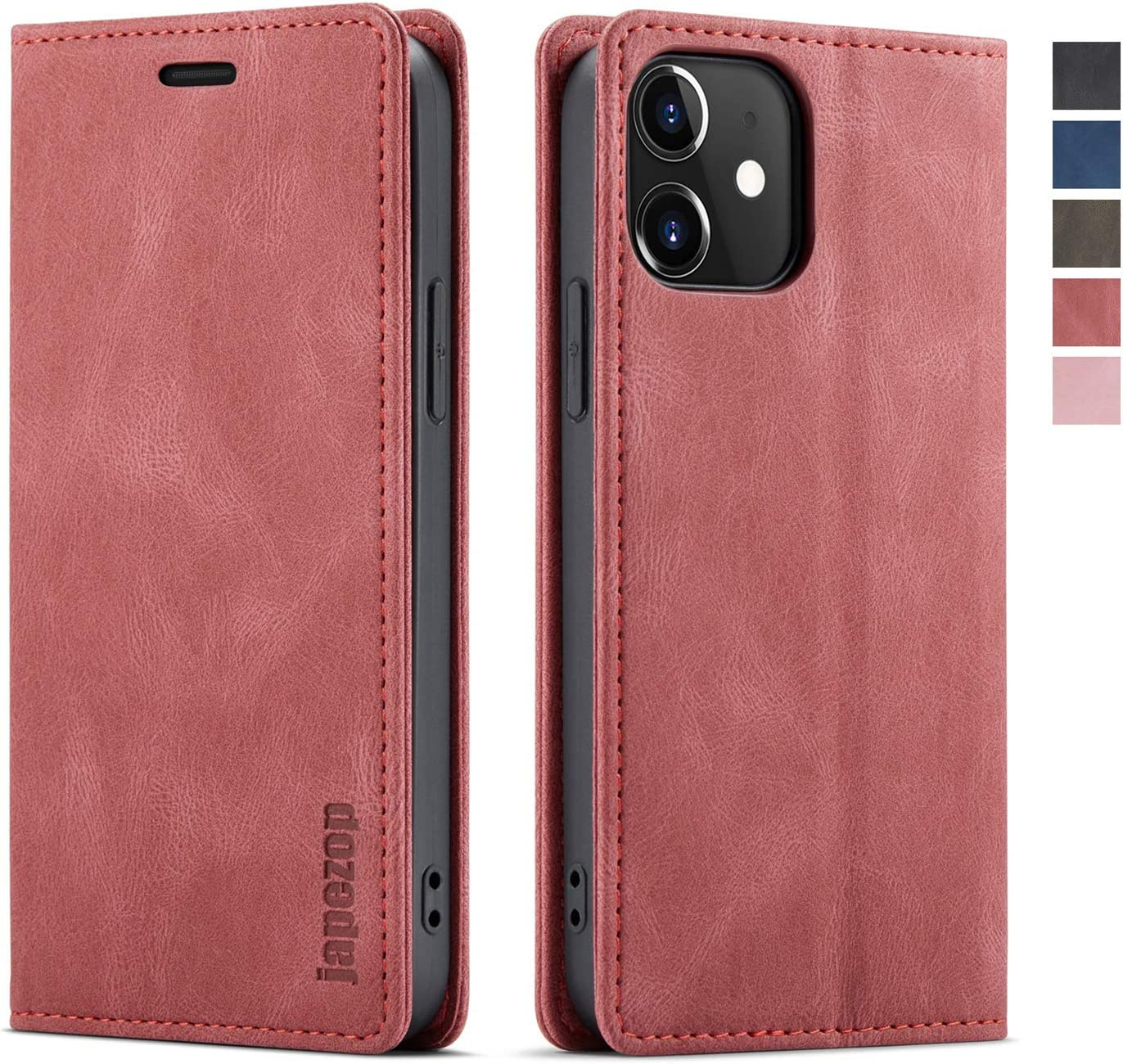 japezop iPhone 12 Mini Case, iPhone 12 Mini Wallet Case for Women with [RFID Blocking] Credit Card Holder, Leather Flip Book Phone Case Cover for for iPhone 12 Mini 5.4 Inch(Wine Red)