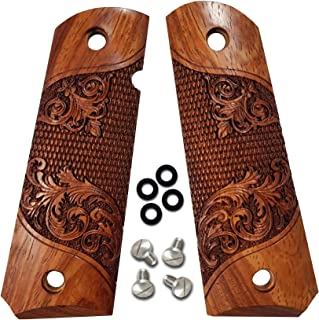 Dan Eagle 1911 Grips Full Size Exotic Solid Rosewood Fits Government and Commander Fleur-de-lis Design