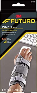 Futuro Deluxe Wrist Stabilizer, Helps Relieve Symptoms of Carpal Tunnel Syndrome, Firm Stabilizing Support, Right Hand, Small/Medium, Gray