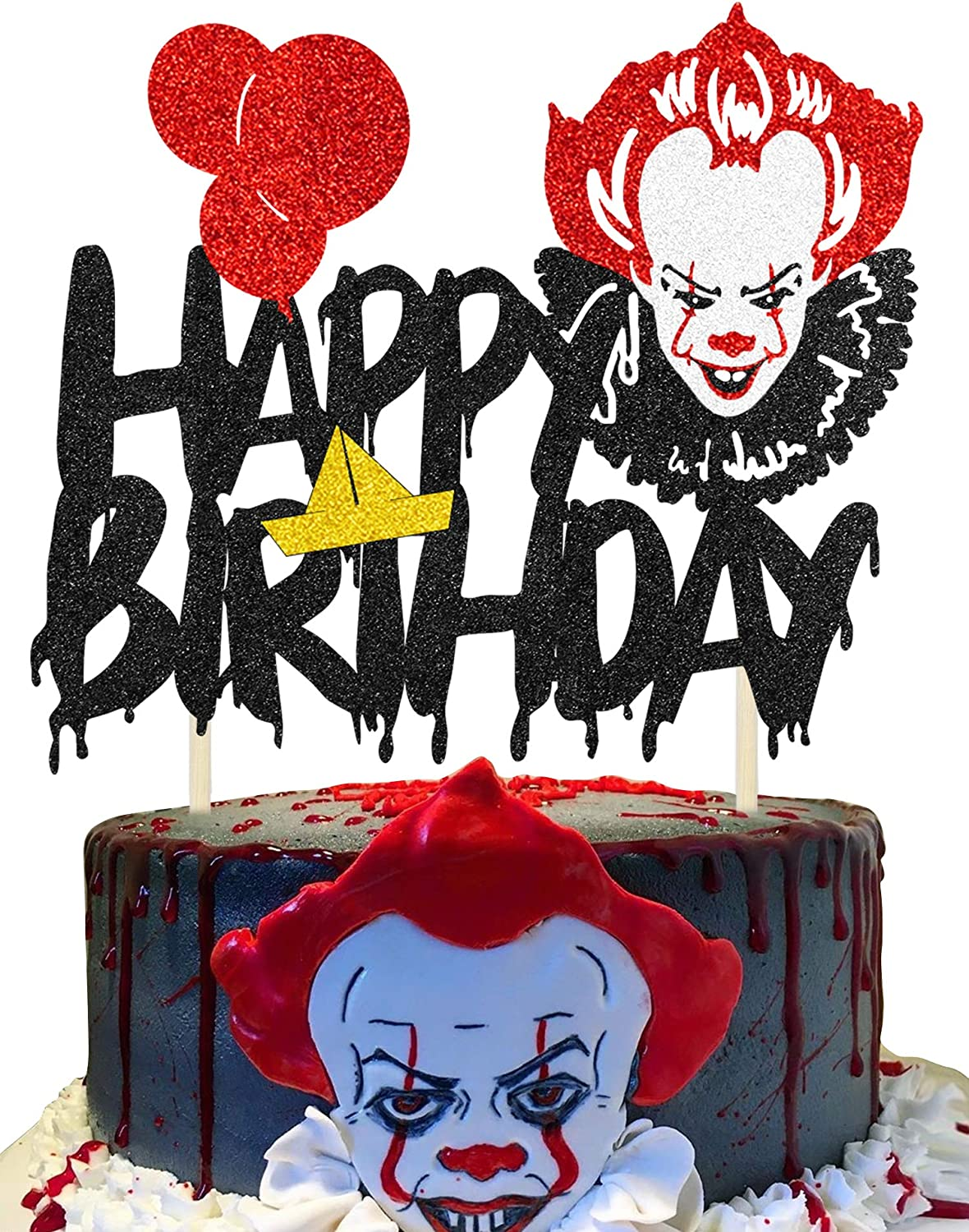 KAPOKKU Black Happy Birthday Cake It for All items free shipping Pennywise Movie Topper Virginia Beach Mall