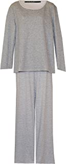 Ralph Lauren Athletic Inspired Plus Size Lounge/Pajamas PJ's (Light Heather Grey Cream Trim Pants Heather Grey Cream Striped, 2X)