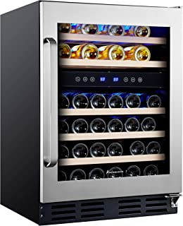 Kalamera 45 Bottle Dual Zone 24'' Built-in or Freestanding wine cooler/refrigerator with Stainless Steel