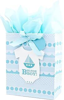 کیف هدیه بزرگ هالمارک با دستمال کاغذی برای دوش کودک ، مادران جدید و موارد دیگر (B برای پسر است)