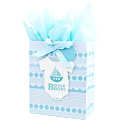 Hallmark Large Gift Bag with Tissue Paper for Baby Showers, New Moms and More (B is for Boy)
