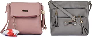 GLOSSY Women's PU Sling Bag with Keychain and 5 Zip Compartments, Combo Pink and Khaki