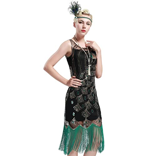 11f7ece341d BABEYOND Women s 1920s Fringed Gatsby Dress Peacock Pattern Theme Flapper  Dress for Gatsby Costume Party Prom