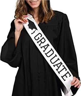 Graduate Sash - Graduation Sash - Graduation Party Supplies - White Unisex Satin Sash