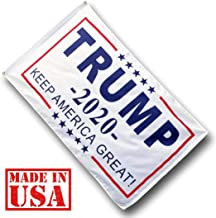US Flag Factory - 3x5 FT Trump 2020 Flag (Made in USA) - Trump - Keep America Great (White) (Grommets)